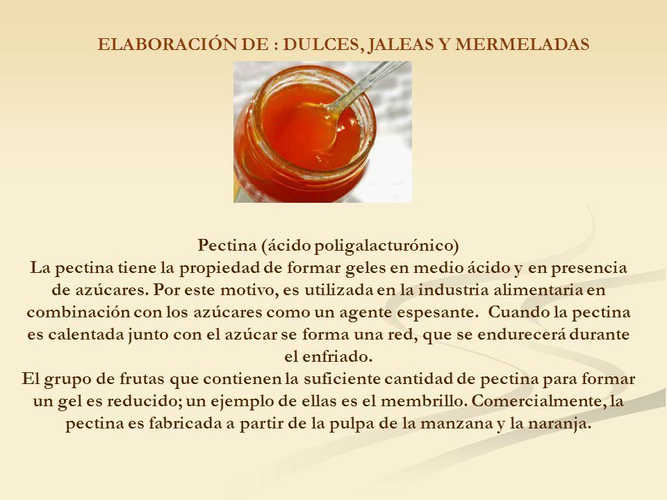 ELABORACIÓN DE : DULCES, JALEAS Y MERMELADAS Pectina (ácido poligalacturónico) La pectina tiene la propiedad de formar geles en medio ácido y en presencia de azúcares.