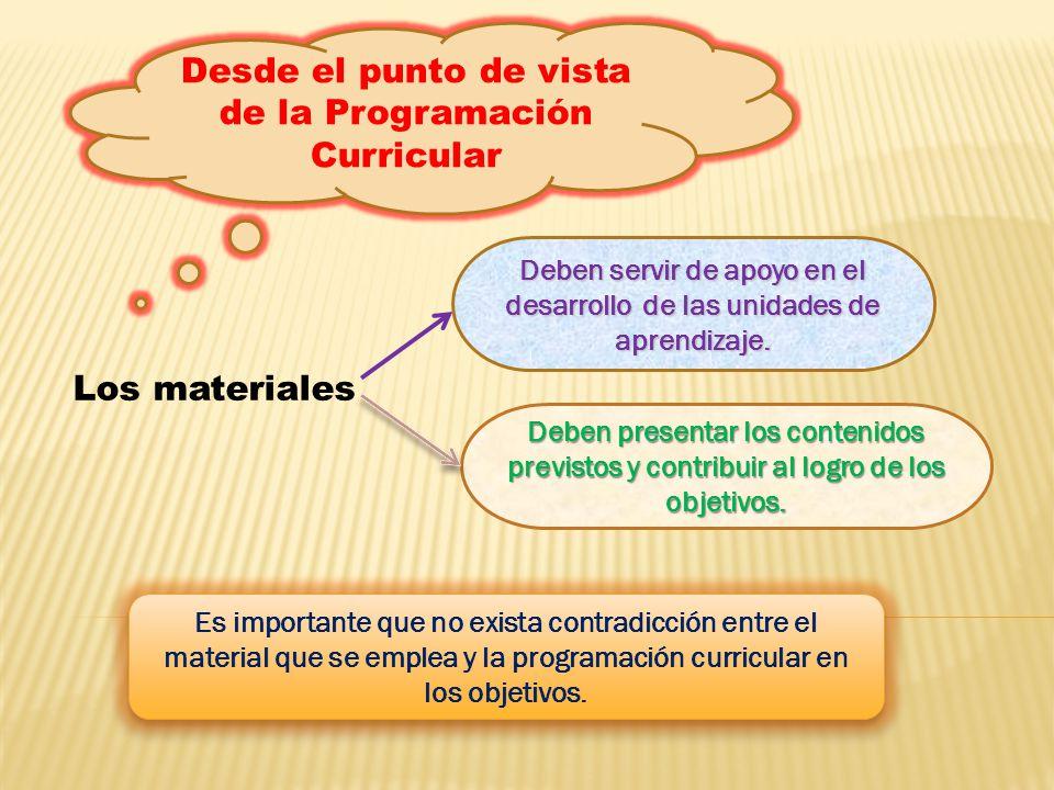 Desde el punto de vista de la Programación Curricular Los materiales Deben servir de apoyo en el desarrollo de las unidades de aprendizaje. Deben pres