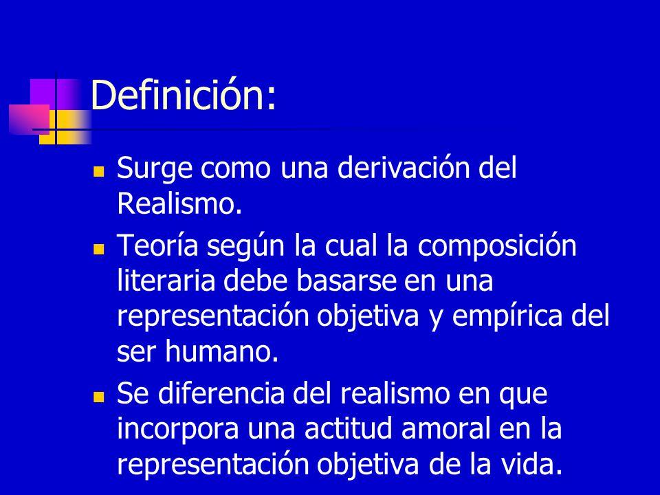 Definición: Surge como una derivación del Realismo. Teoría según la cual la composición literaria debe basarse en una representación objetiva y empíri