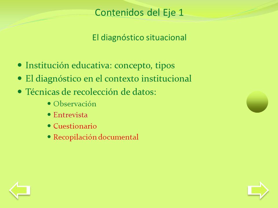 La biblioteca escolar como subsistema Sistema escuela Pedagógico- didáctica Organizacional- operativa Administrativo- financiera Comunitaria Histórica Sociológica Orientativa Institucional Dimensiones Por qué el diagnóstico situacional?