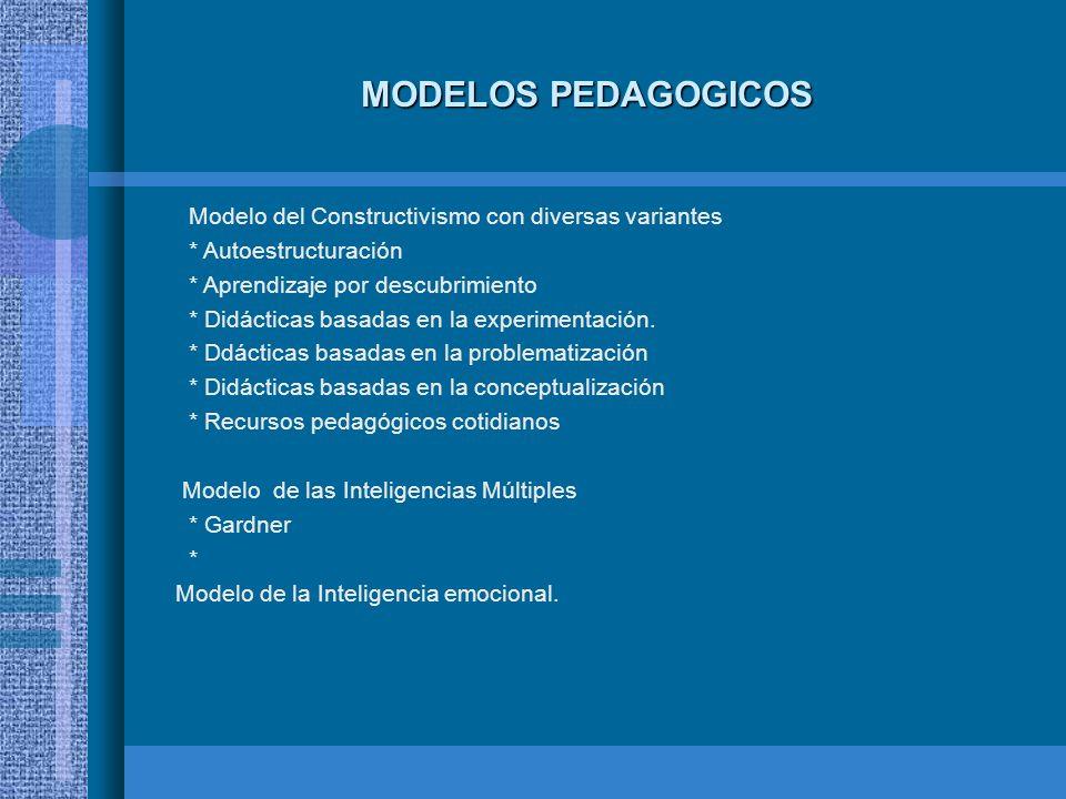 MODELOS PEDAGOGICOS Modelo del Constructivismo con diversas variantes * Autoestructuración * Aprendizaje por descubrimiento * Didácticas basadas en la