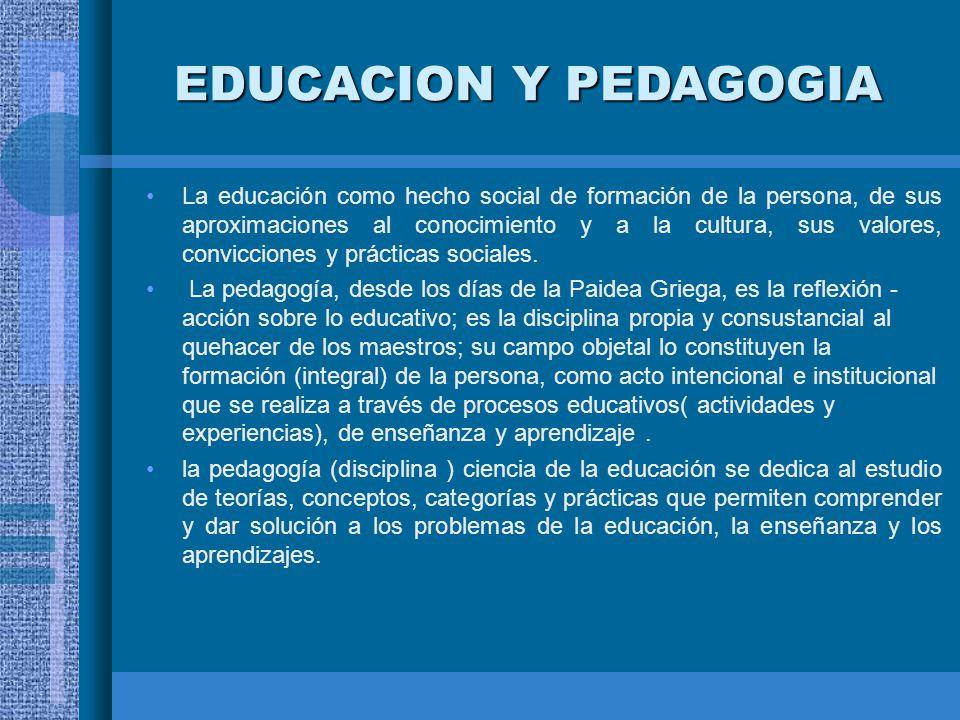 EDUCACION Y PEDAGOGIA La educación como hecho social de formación de la persona, de sus aproximaciones al conocimiento y a la cultura, sus valores, co