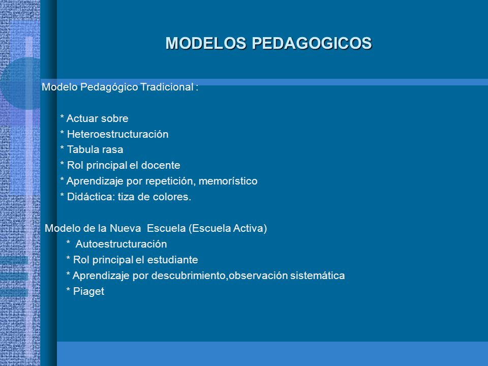 MODELOS PEDAGOGICOS Modelo Pedagógico Tradicional : * Actuar sobre * Heteroestructuración * Tabula rasa * Rol principal el docente * Aprendizaje por r