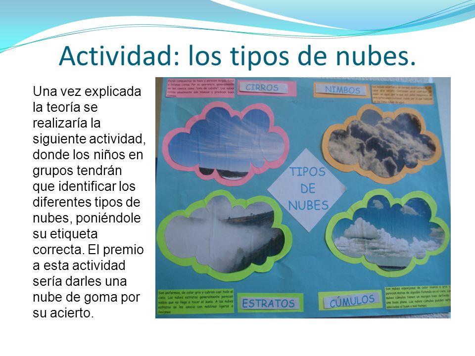 Actividad: los tipos de nubes. Una vez explicada la teoría se realizaría la siguiente actividad, donde los niños en grupos tendrán que identificar los
