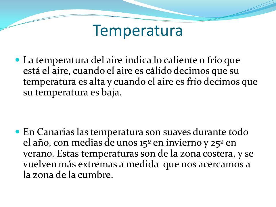 Temperatura La temperatura del aire indica lo caliente o frío que está el aire, cuando el aire es cálido decimos que su temperatura es alta y cuando e
