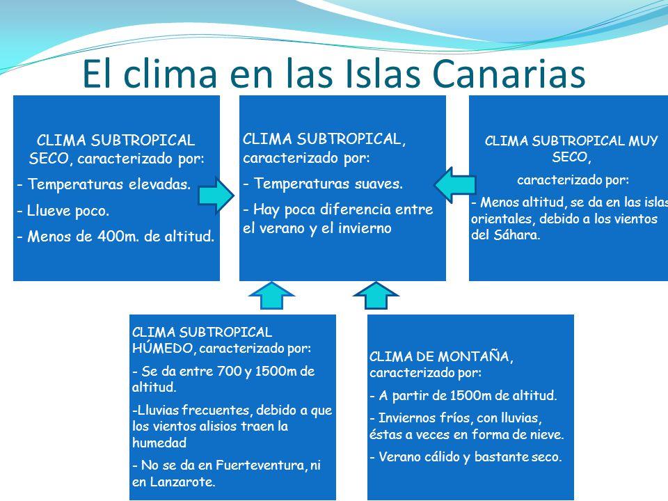 El clima en las Islas Canarias CLIMA SUBTROPICAL, caracterizado por: - Temperaturas suaves. - Hay poca diferencia entre el verano y el invierno CLIMA