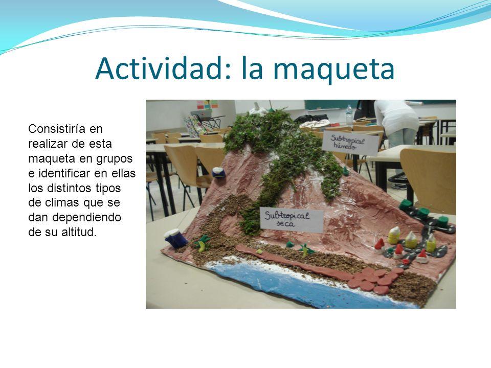 Actividad: la maqueta Consistiría en realizar de esta maqueta en grupos e identificar en ellas los distintos tipos de climas que se dan dependiendo de