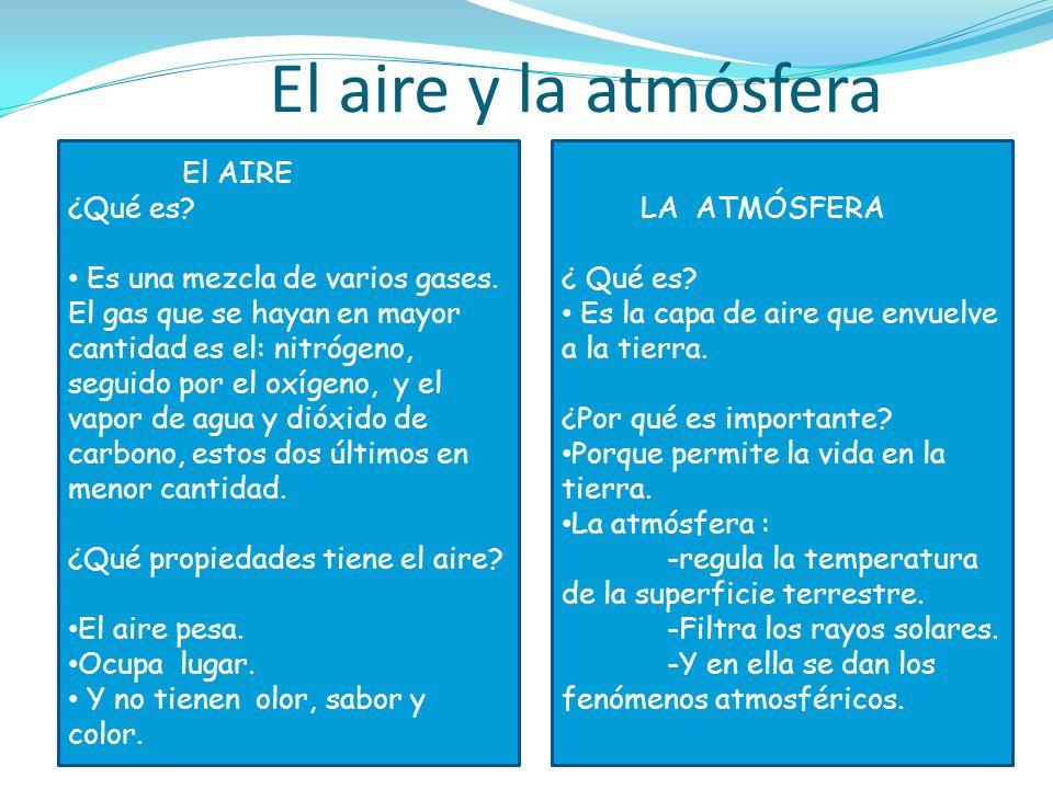 El aire y la atmósfera El AIRE ¿Qué es? Es una mezcla de varios gases. El gas que se hayan en mayor cantidad es el: nitrógeno, seguido por el oxígeno,