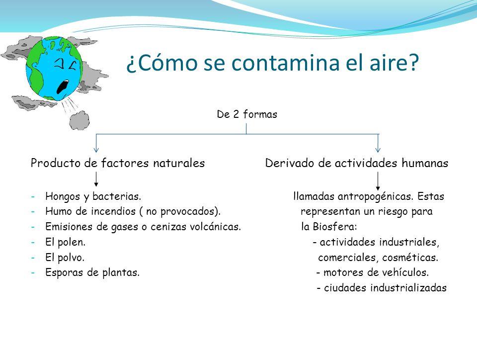 ¿Cómo se contamina el aire? De 2 formas Producto de factores naturales Derivado de actividades humanas - Hongos y bacterias. llamadas antropogénicas.