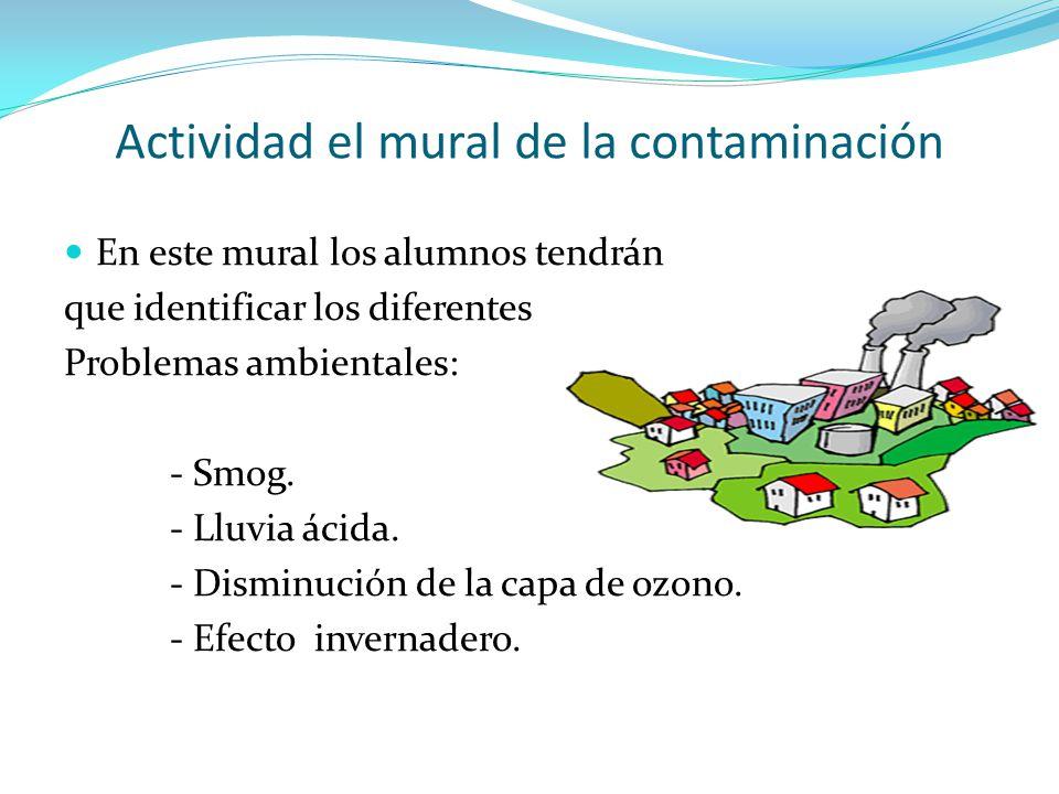 Actividad el mural de la contaminación En este mural los alumnos tendrán que identificar los diferentes Problemas ambientales: - Smog. - Lluvia ácida.