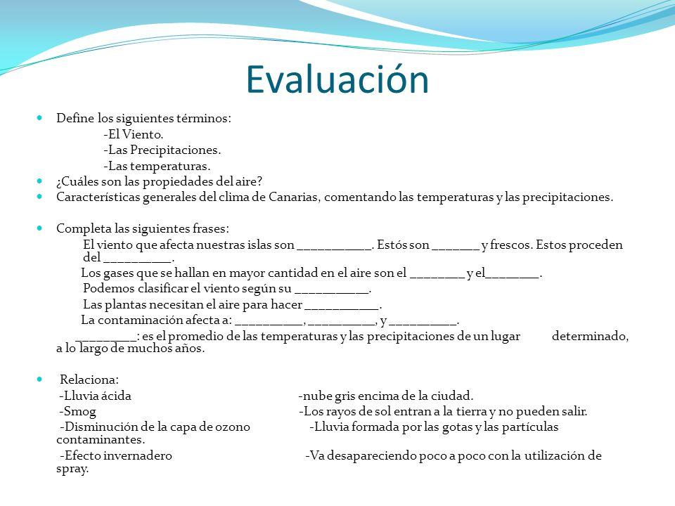Evaluación Define los siguientes términos: -El Viento. -Las Precipitaciones. -Las temperaturas. ¿Cuáles son las propiedades del aire? Características