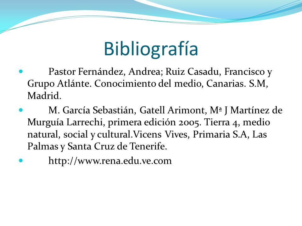 Bibliografía Pastor Fernández, Andrea; Ruiz Casadu, Francisco y Grupo Atlánte. Conocimiento del medio, Canarias. S.M, Madrid. M. García Sebastián, Gat