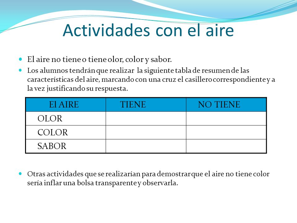 El aire no tiene o tiene olor, color y sabor. Los alumnos tendrán que realizar la siguiente tabla de resumen de las características del aire, marcando