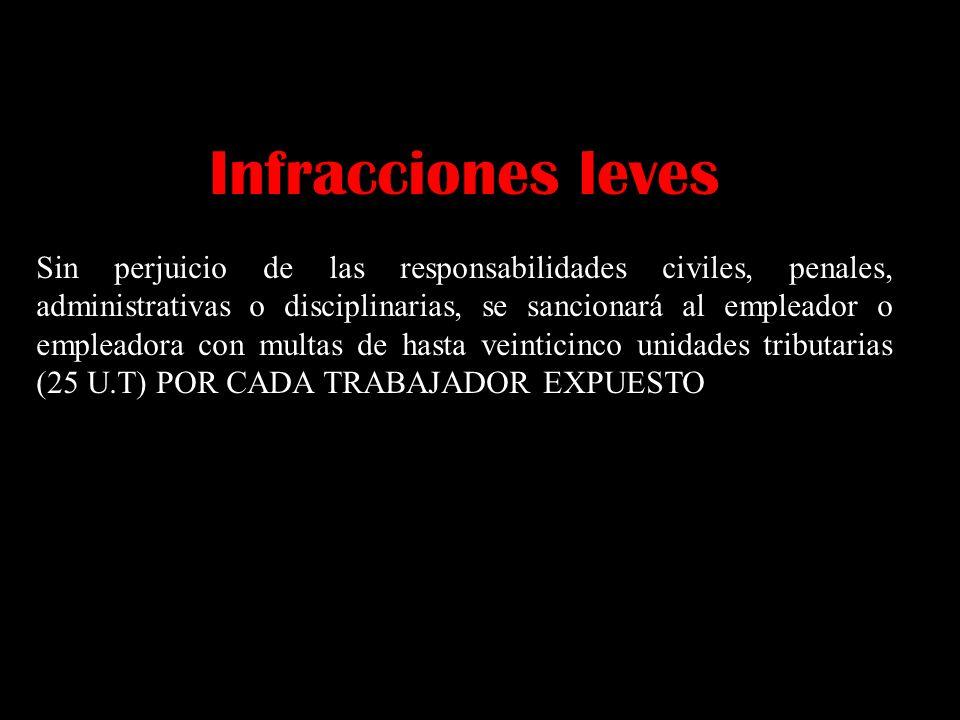 Infracciones leves Sin perjuicio de las responsabilidades civiles, penales, administrativas o disciplinarias, se sancionará al empleador o empleadora