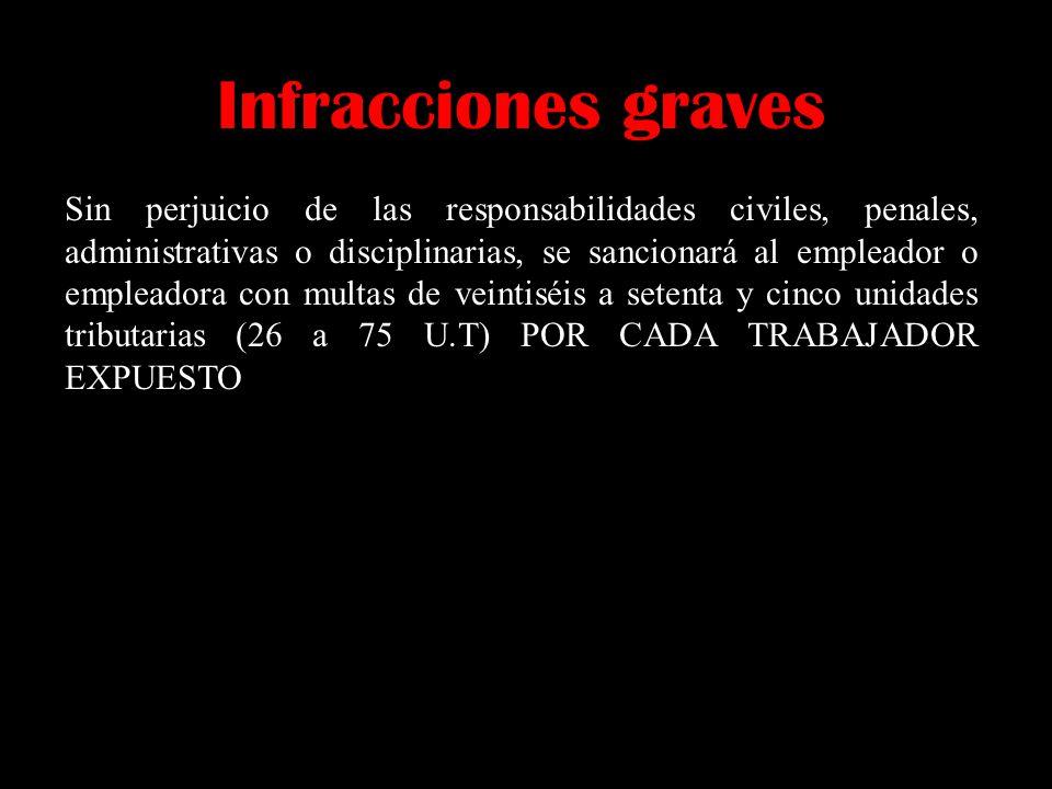 Infracciones graves Sin perjuicio de las responsabilidades civiles, penales, administrativas o disciplinarias, se sancionará al empleador o empleadora