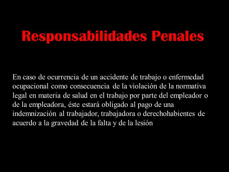 Responsabilidades Penales En caso de ocurrencia de un accidente de trabajo o enfermedad ocupacional como consecuencia de la violación de la normativa