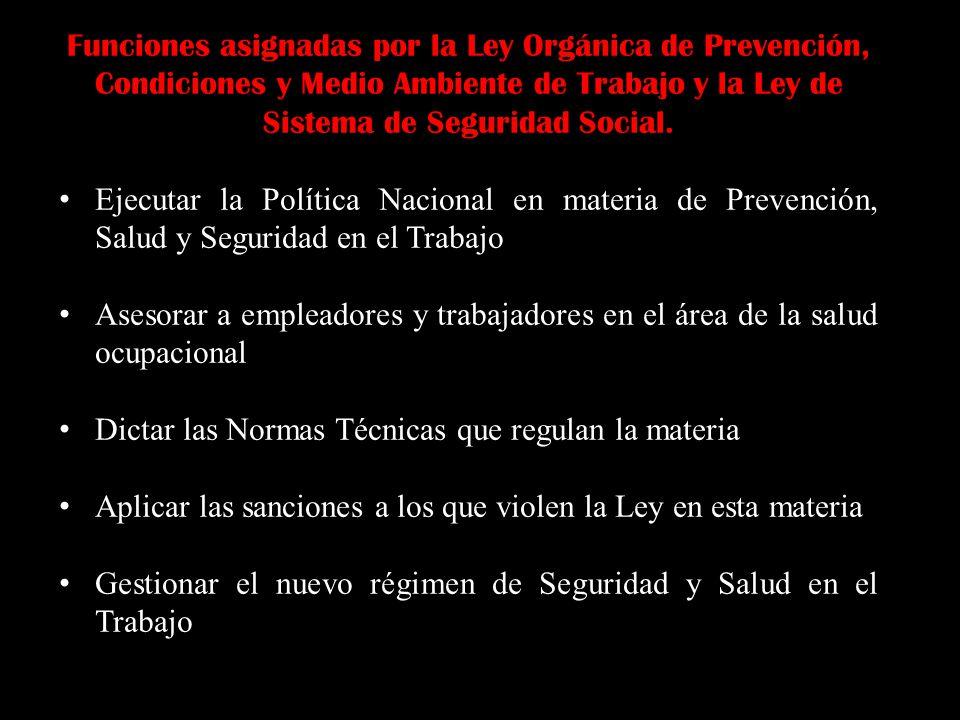 Funciones asignadas por la Ley Orgánica de Prevención, Condiciones y Medio Ambiente de Trabajo y la Ley de Sistema de Seguridad Social. Ejecutar la Po