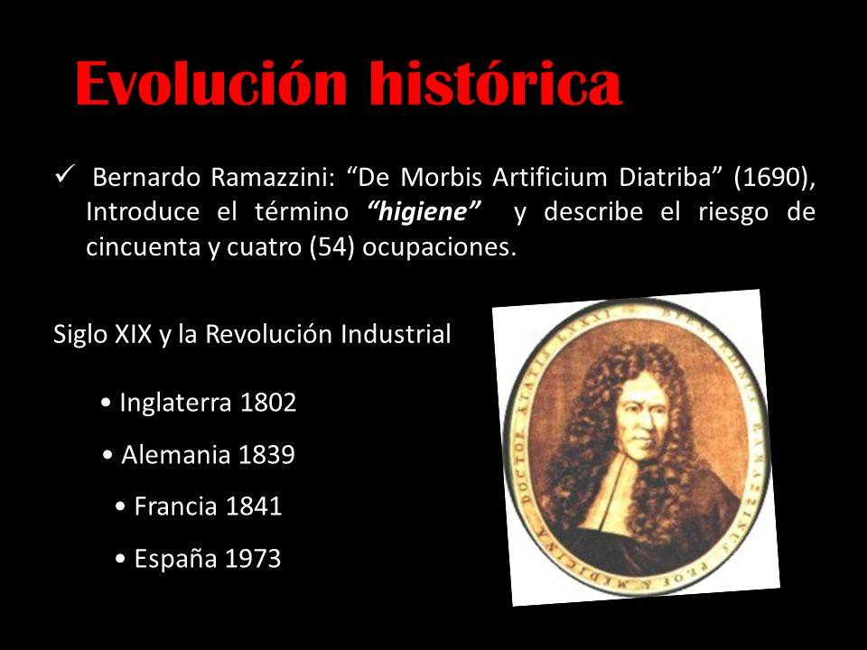 Evolución histórica Bernardo Ramazzini: De Morbis Artificium Diatriba (1690), Introduce el término higiene y describe el riesgo de cincuenta y cuatro