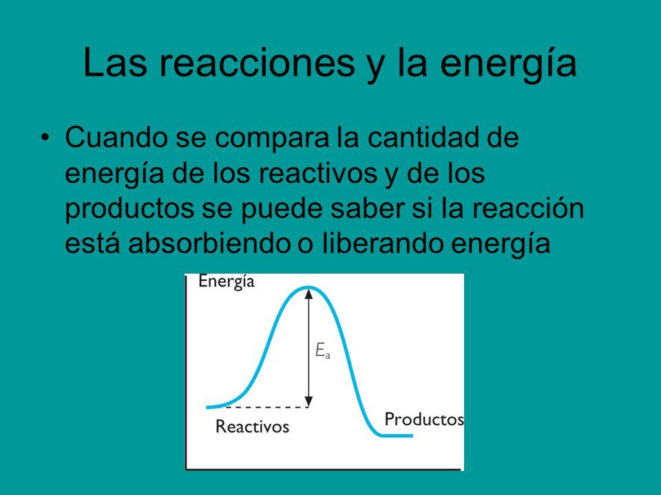 Las reacciones y la energía Cuando se compara la cantidad de energía de los reactivos y de los productos se puede saber si la reacción está absorbiend
