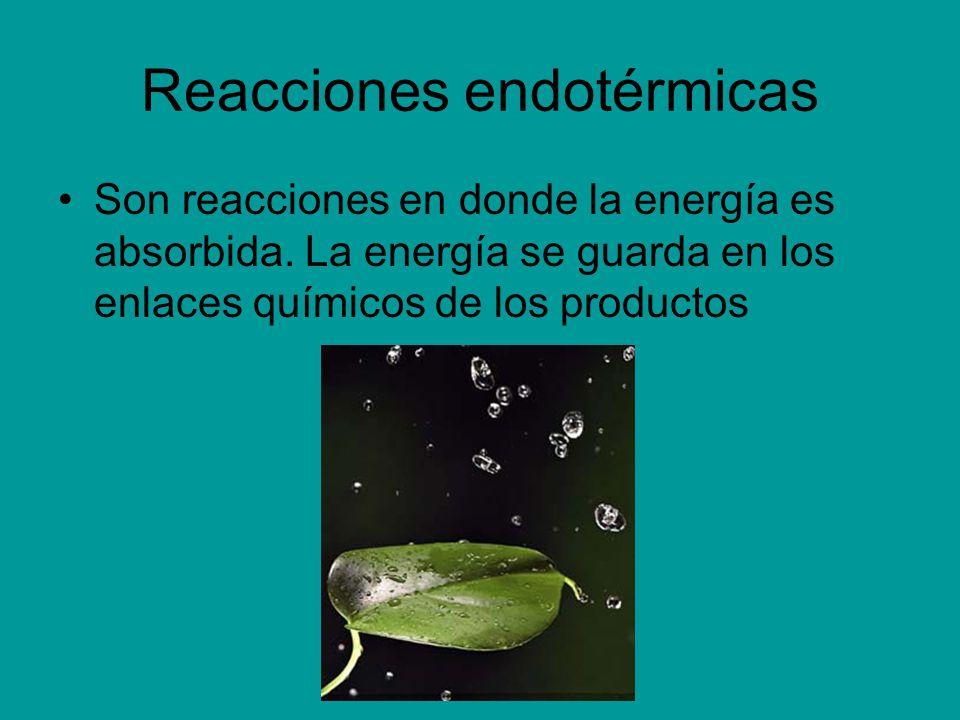 Reacciones endotérmicas Son reacciones en donde la energía es absorbida. La energía se guarda en los enlaces químicos de los productos