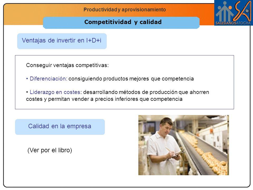 Economía 2.º Bachillerato La función productiva Productividad y aprovisionamiento Competitividad y calidad Ventajas de invertir en I+D+i Conseguir ven