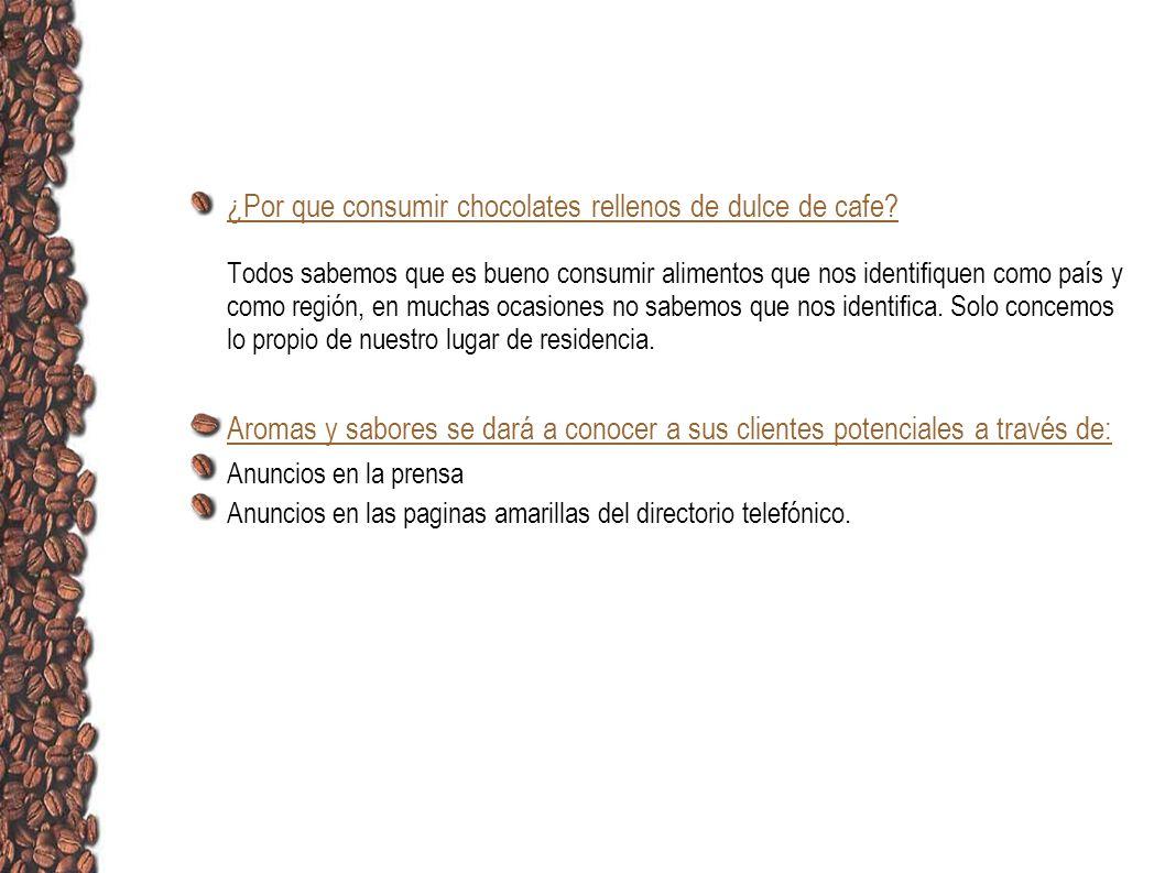 ¿Por que consumir chocolates rellenos de dulce de cafe? Todos sabemos que es bueno consumir alimentos que nos identifiquen como país y como región, en