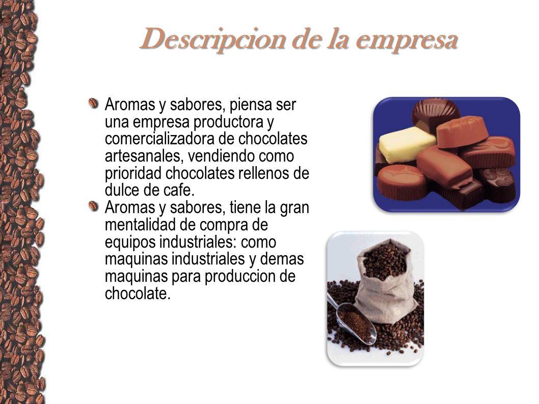 Descripcion de la empresa Aromas y sabores, piensa ser una empresa productora y comercializadora de chocolates artesanales, vendiendo como prioridad c