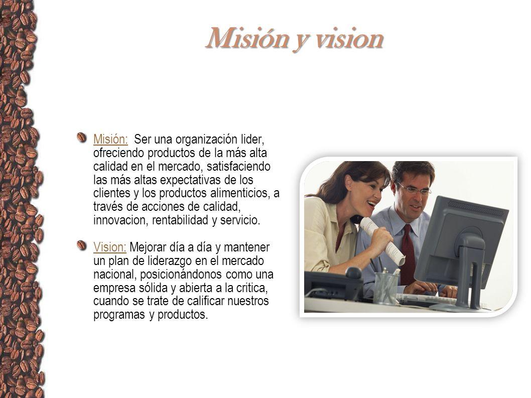 Misión y vision Misión: Ser una organización lider, ofreciendo productos de la más alta calidad en el mercado, satisfaciendo las más altas expectativa