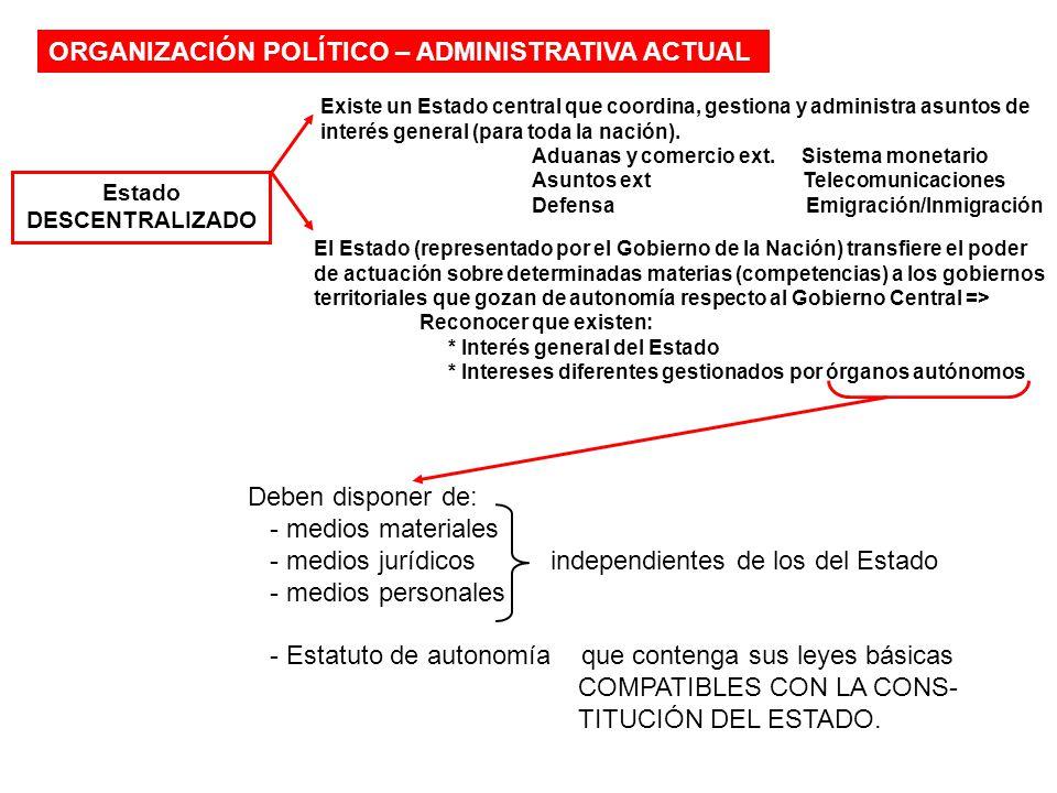 ORGANIZACIÓN POLÍTICO – ADMINISTRATIVA ACTUAL Estado DESCENTRALIZADO El Estado (representado por el Gobierno de la Nación) transfiere el poder de actu
