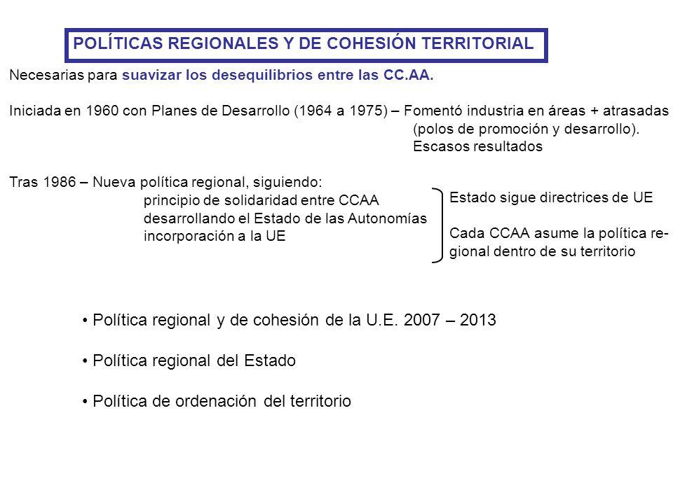 POLÍTICAS REGIONALES Y DE COHESIÓN TERRITORIAL Necesarias para suavizar los desequilibrios entre las CC.AA. Iniciada en 1960 con Planes de Desarrollo