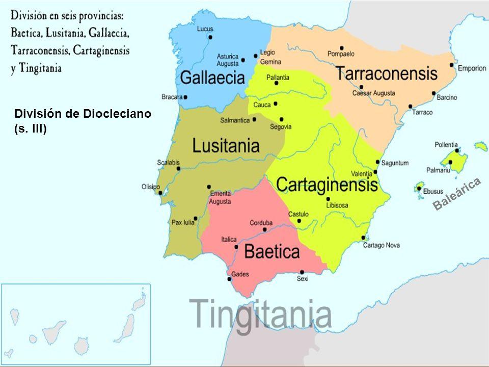 Toledo* Visigodos (s.V al VIII) Estado unificado, capital Toledo Mantienen división romana, pero la unidad admtva.
