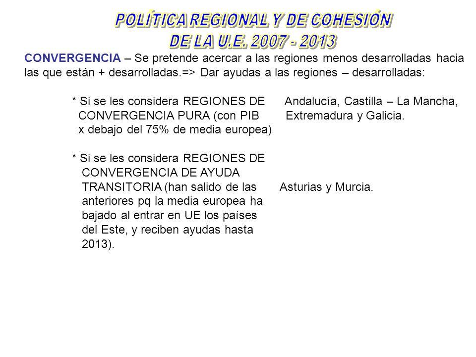 CONVERGENCIA – Se pretende acercar a las regiones menos desarrolladas hacia las que están + desarrolladas.=> Dar ayudas a las regiones – desarrolladas