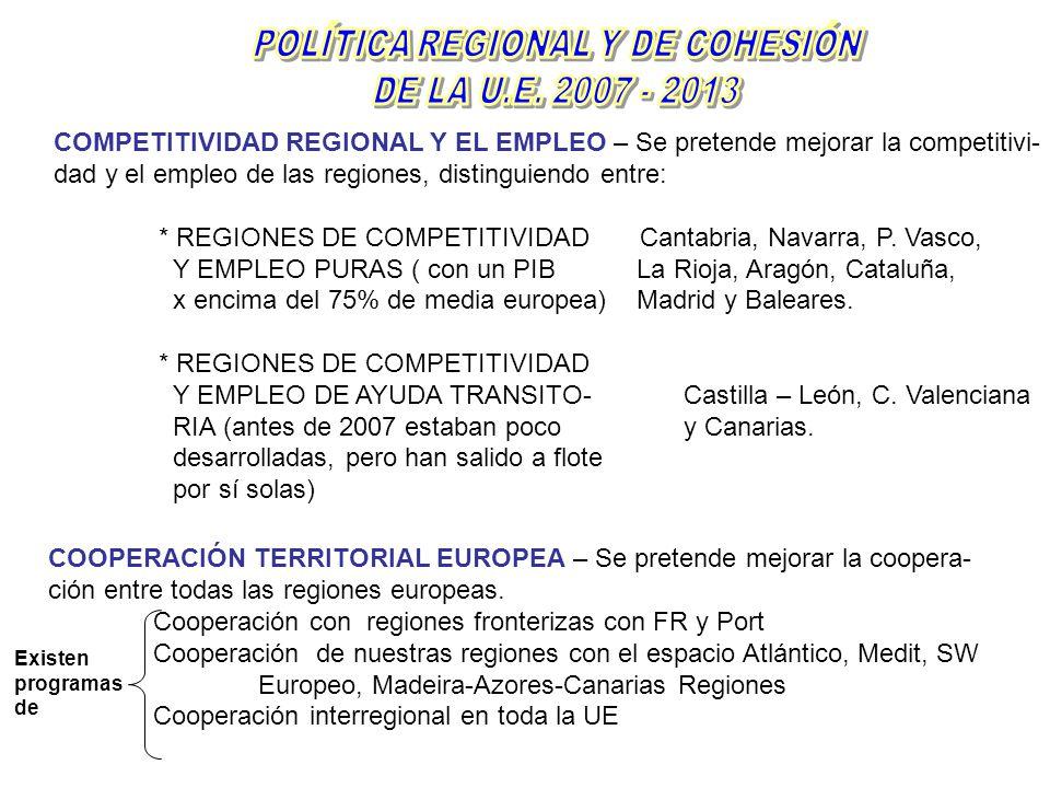 COMPETITIVIDAD REGIONAL Y EL EMPLEO – Se pretende mejorar la competitivi- dad y el empleo de las regiones, distinguiendo entre: * REGIONES DE COMPETIT