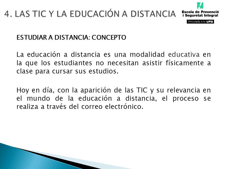Autodisciplina Adaptación a las nuevas tecnologías Escasa comunicación profesor/alumno Flexibilidad horaria Eliminación de distancia geográfica Posibilidad de retomar estudios INCONVENIENTES VENTAJAS