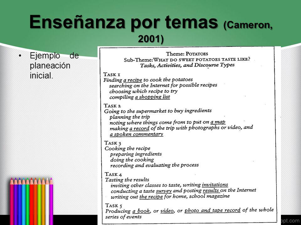 Enseñanza por temas (Cameron, 2001) Ejemplo de planeación inicial.