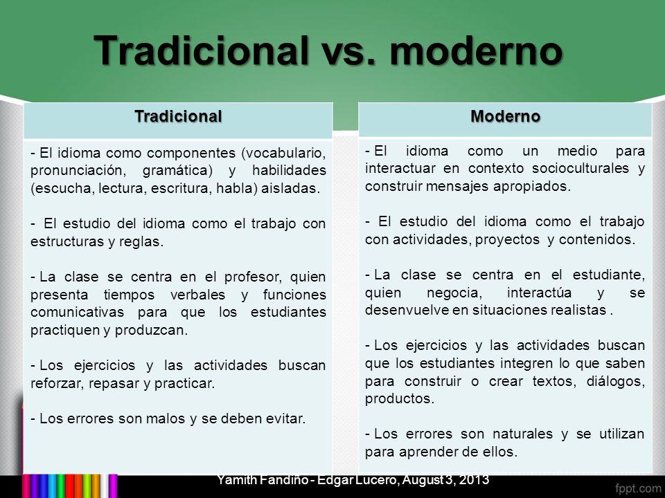 Tradicional vs. moderno Tradicional - El idioma como componentes (vocabulario, pronunciación, gramática) y habilidades (escucha, lectura, escritura, h