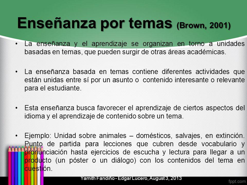 Enseñanza por temas (Brown, 2001) La enseñanza y el aprendizaje se organizan en torno a unidades basadas en temas, que pueden surgir de otras áreas ac