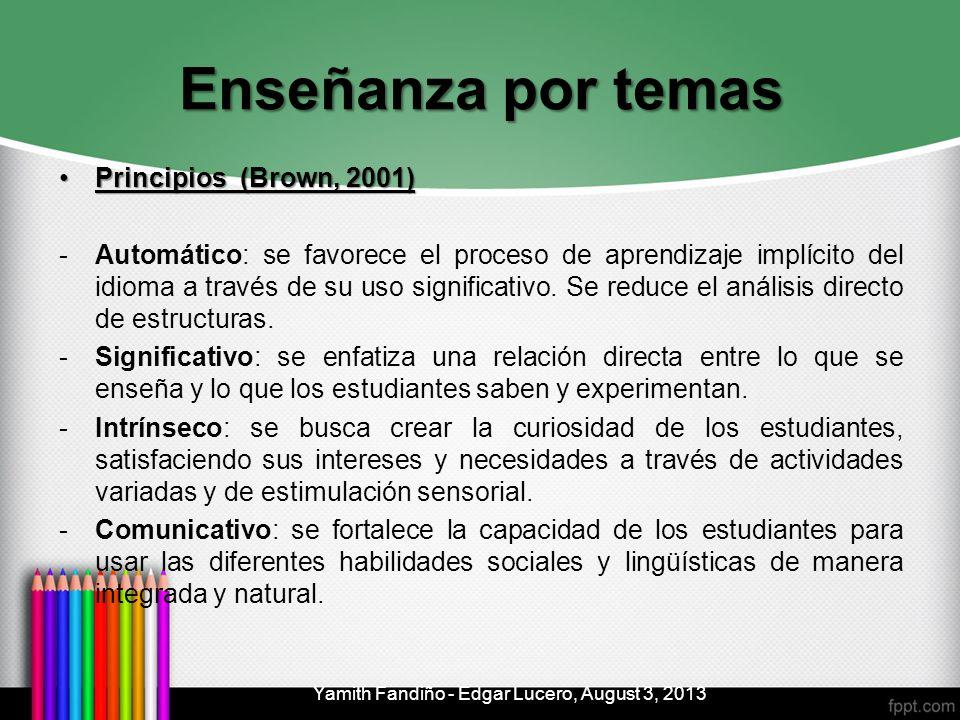 Enseñanza por temas Principios (Brown, 2001)Principios (Brown, 2001) -Automático: se favorece el proceso de aprendizaje implícito del idioma a través