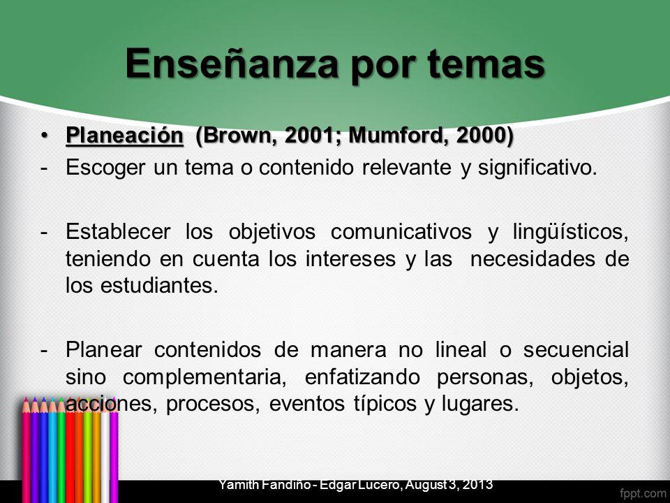 Enseñanza por temas Planeación (Brown, 2001; Mumford, 2000)Planeación (Brown, 2001; Mumford, 2000) -Escoger un tema o contenido relevante y significat