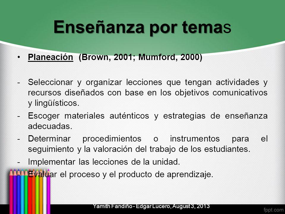 Enseñanza por tema Enseñanza por temas Planeación (Brown, 2001; Mumford, 2000) -Seleccionar y organizar lecciones que tengan actividades y recursos di