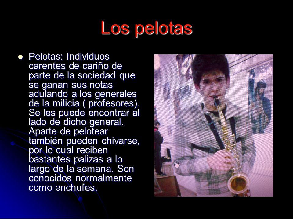 Los pelotas Pelotas: Individuos carentes de cariño de parte de la sociedad que se ganan sus notas adulando a los generales de la milicia ( profesores).