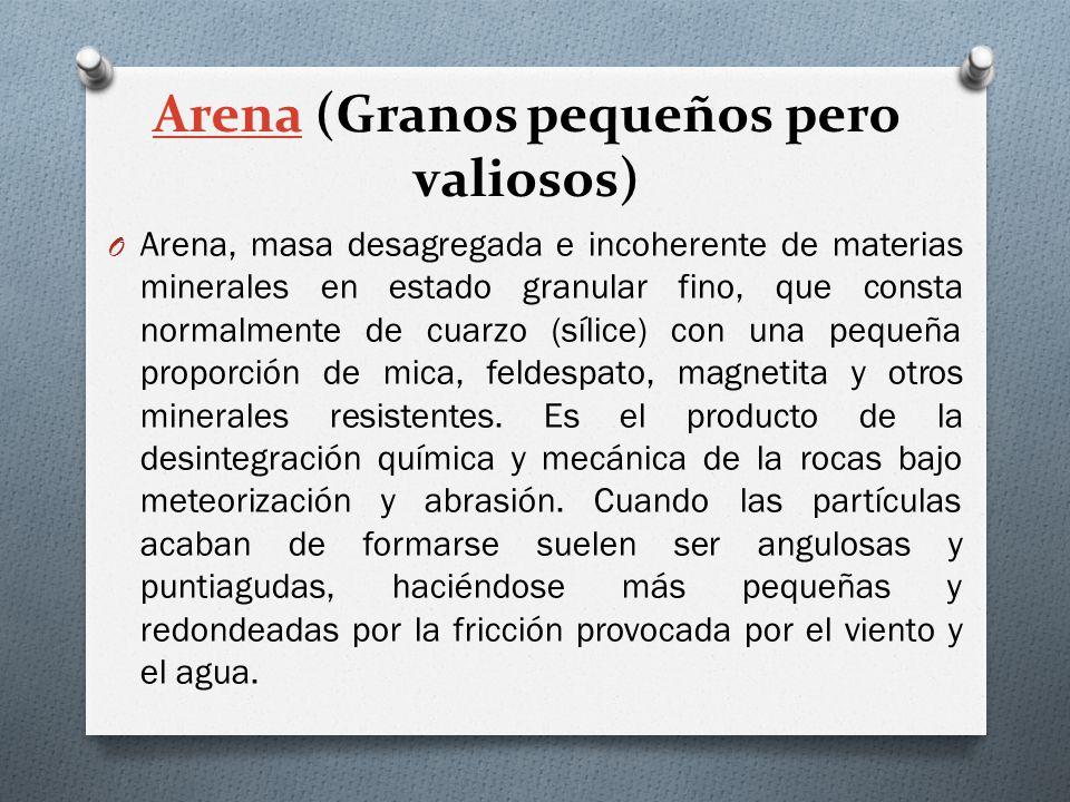 ArenaArena (Granos pequeños pero valiosos) O Arena, masa desagregada e incoherente de materias minerales en estado granular fino, que consta normalmen