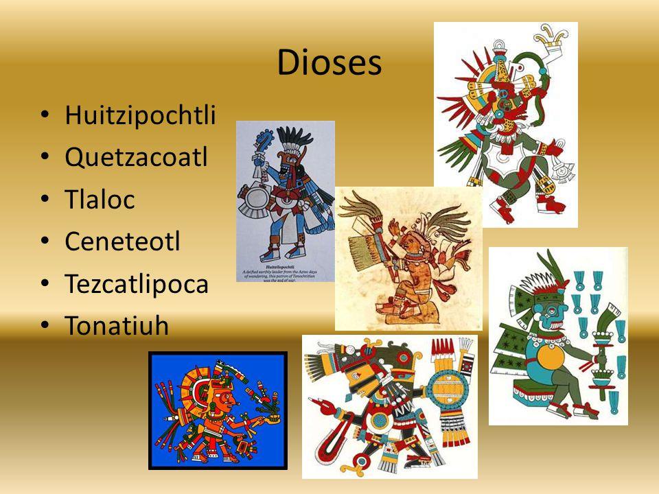 Dioses Huitzipochtli Quetzacoatl Tlaloc Ceneteotl Tezcatlipoca Tonatiuh