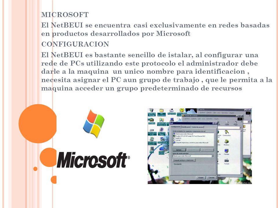 MICROSOFT El NetBEUI se encuentra casi exclusivamente en redes basadas en productos desarrollados por Microsoft CONFIGURACION El NetBEUI es bastante s