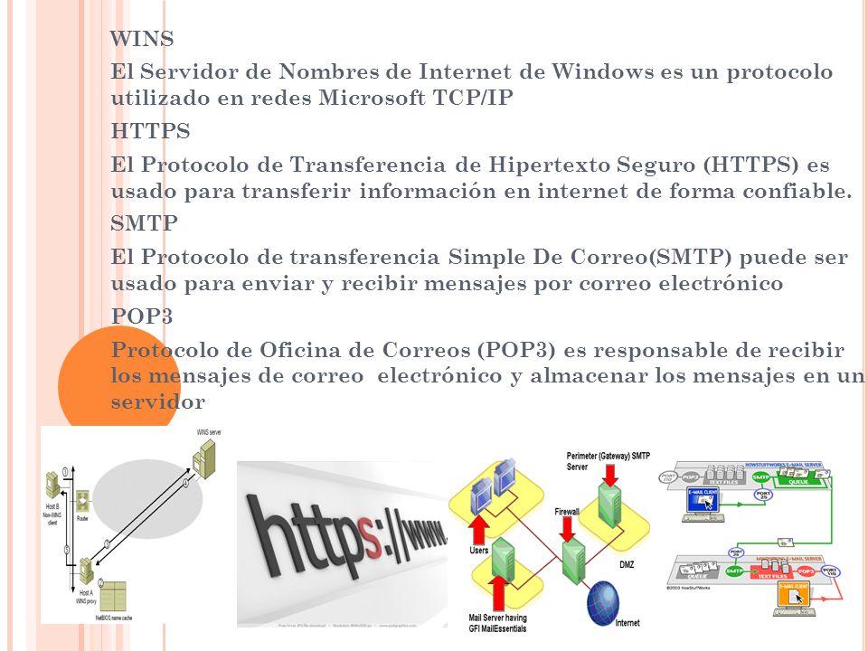 WINS El Servidor de Nombres de Internet de Windows es un protocolo utilizado en redes Microsoft TCP/IP HTTPS El Protocolo de Transferencia de Hipertex