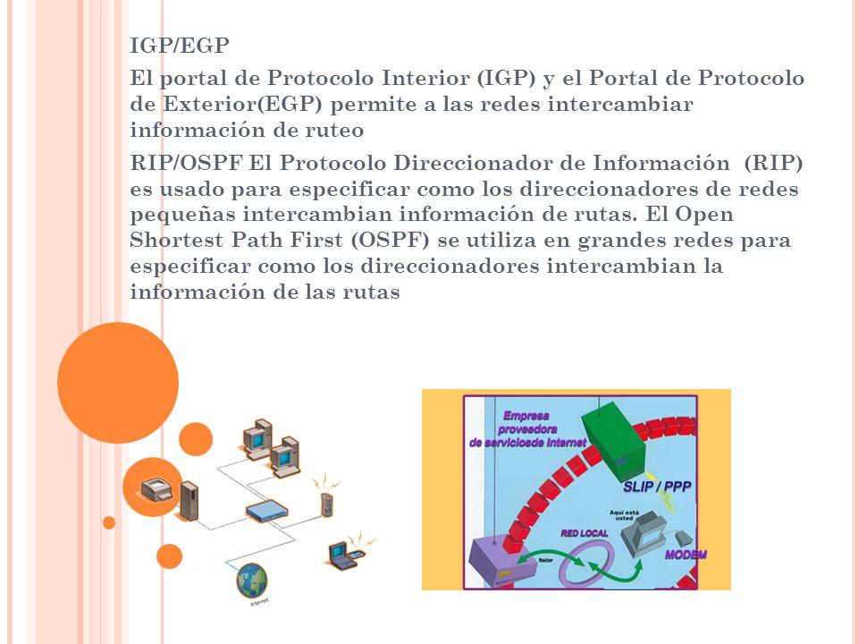 IGP/EGP El portal de Protocolo Interior (IGP) y el Portal de Protocolo de Exterior(EGP) permite a las redes intercambiar información de ruteo RIP/OSPF