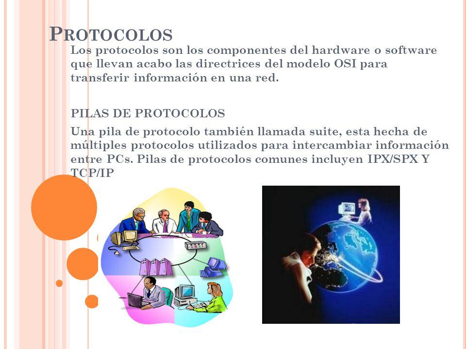 P ROTOCOLOS Los protocolos son los componentes del hardware o software que llevan acabo las directrices del modelo OSI para transferir información en