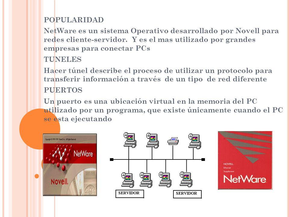 POPULARIDAD NetWare es un sistema Operativo desarrollado por Novell para redes cliente-servidor. Y es el mas utilizado por grandes empresas para conec