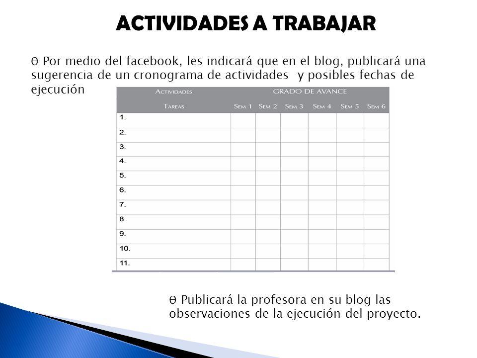 ACTIVIDADES A TRABAJAR Ѳ Por medio del facebook, les indicará que en el blog, publicará una sugerencia de un cronograma de actividades y posibles fechas de ejecución Ѳ Publicará la profesora en su blog las observaciones de la ejecución del proyecto.