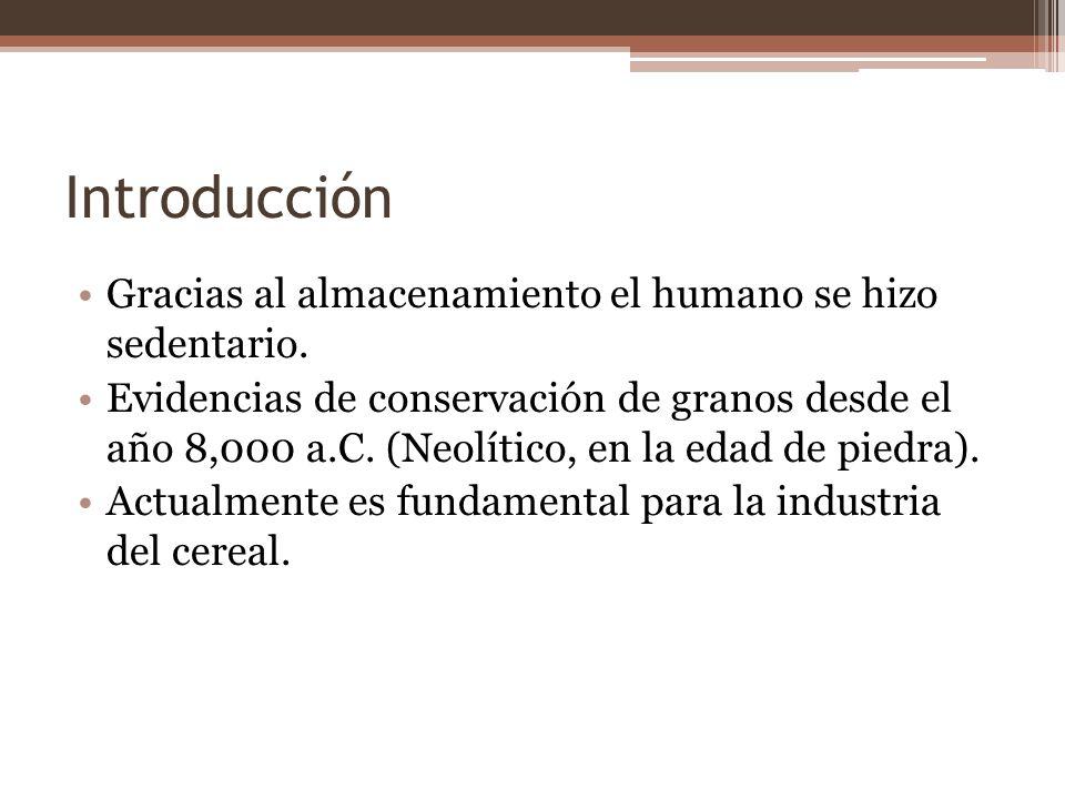 Introducción Gracias al almacenamiento el humano se hizo sedentario. Evidencias de conservación de granos desde el año 8,000 a.C. (Neolítico, en la ed